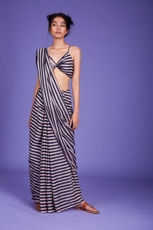 Mati Striped Saree with Bralette - SS Pink