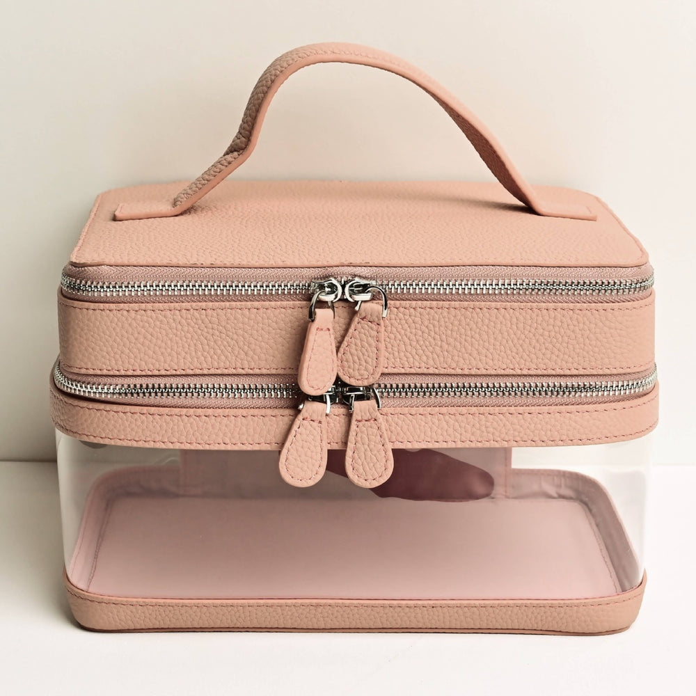 Large Clear Toiletry Case in Dusty Rose