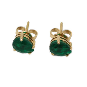 Emerald Pearshaped Studs