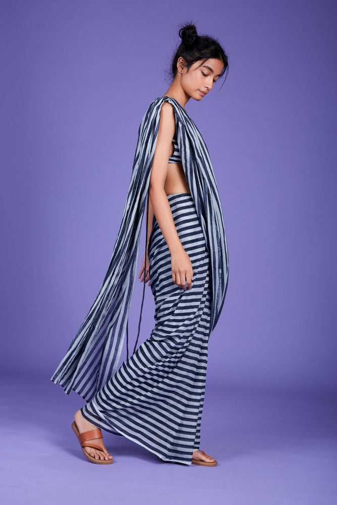 Mati Striped Saree with Bralette - SS Blue