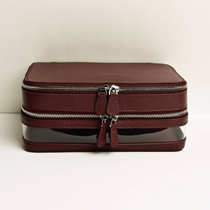 Medium Clear Toiletry Case in Maroon