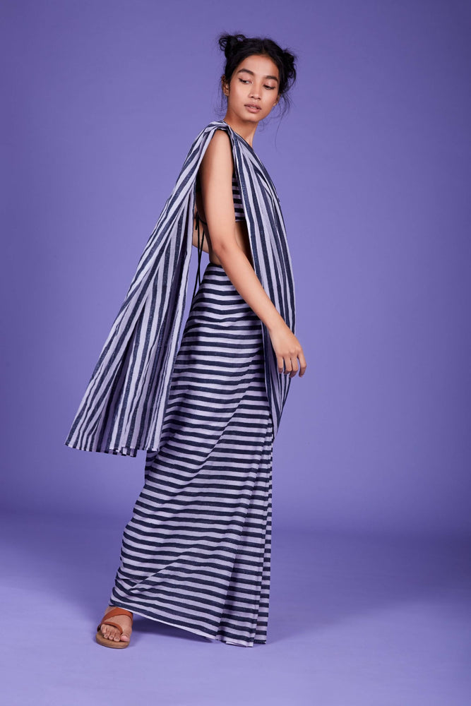 Load image into Gallery viewer, Mati Stripe Saree - SS Lavender