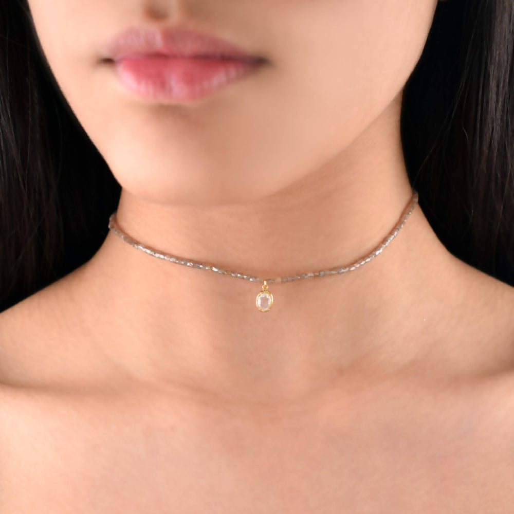 SINGLE OVAL ROSE CUT DIAMOND CHOKER