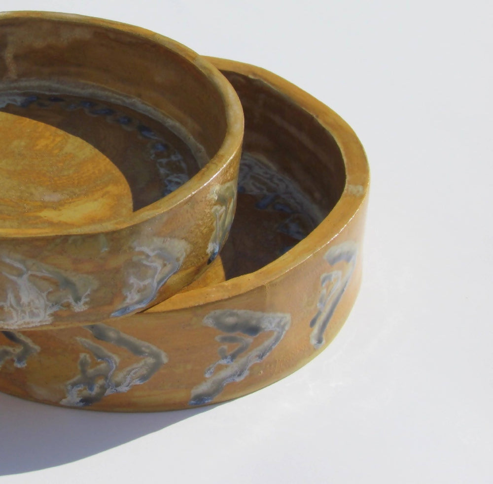 Load image into Gallery viewer, Flat Bowls 2 piece set(Yellow & Blue)