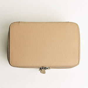 Medium Clear Toiletry Case in Beige