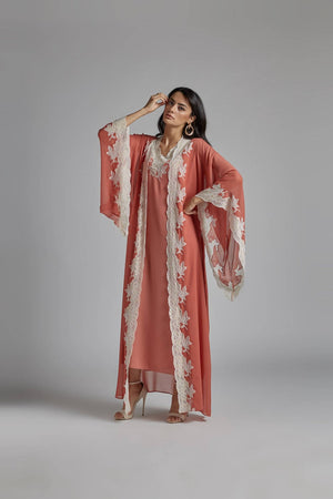 Silk Chiffon Robe Set Coral Goldish - Coral Rose