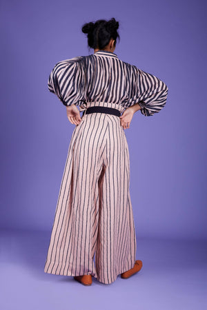 Striped Paper Bag Pant - SS Pink