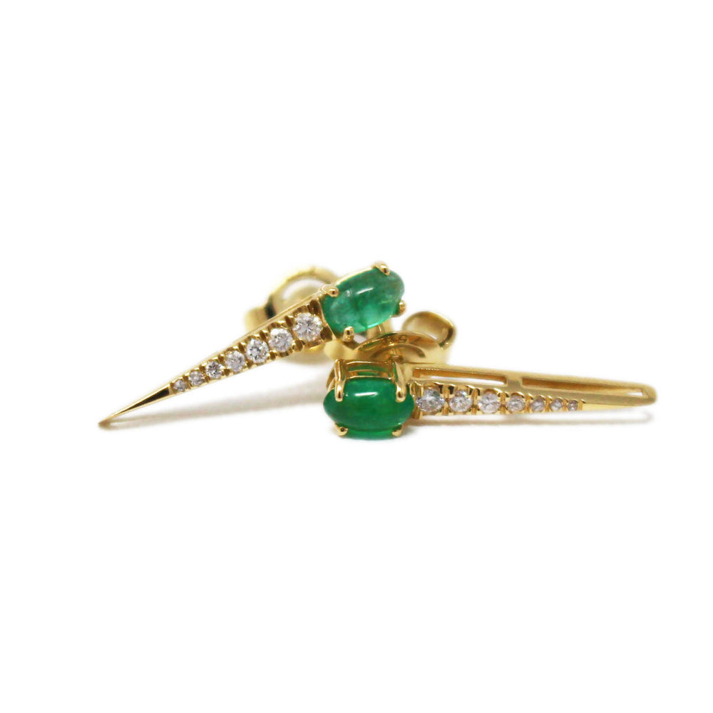 Load image into Gallery viewer, Emerald Arrow Earrings