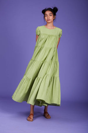 Load image into Gallery viewer, Vena Aakar Dress SS Green