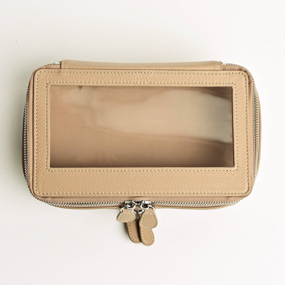 Small Clear Toiletry Case in Beige
