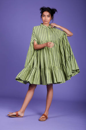 Load image into Gallery viewer, Cape Dress SS Green