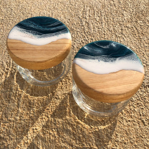 Beach Glass Jars - Set of 2