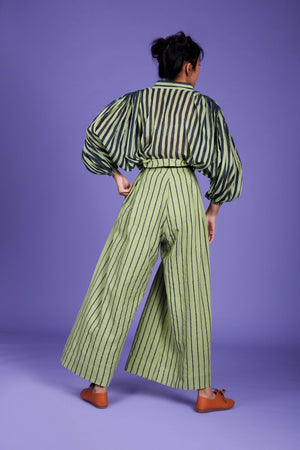 Load image into Gallery viewer, Baha Striped Shirt - SS Green