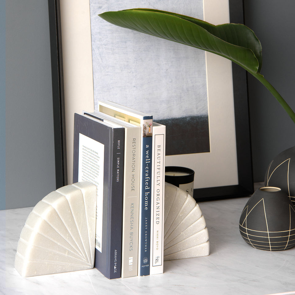 Semicircle Marble Bookends