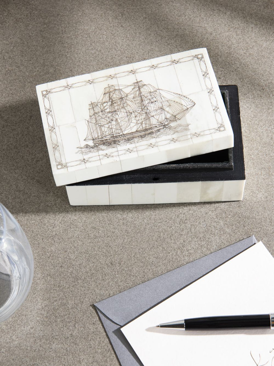 Box with Ship Etching