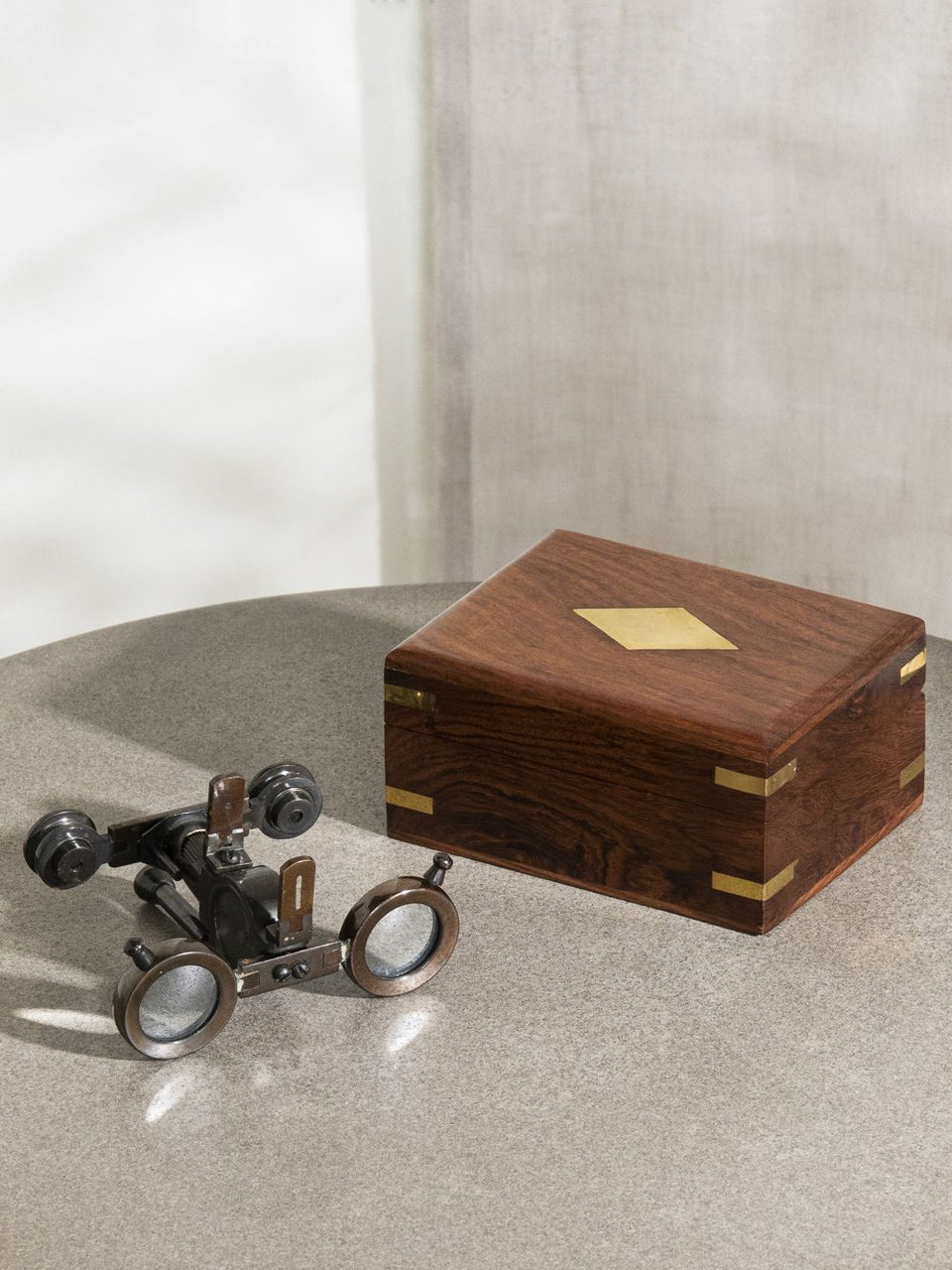 Wooden Box with Binoculars and Compass