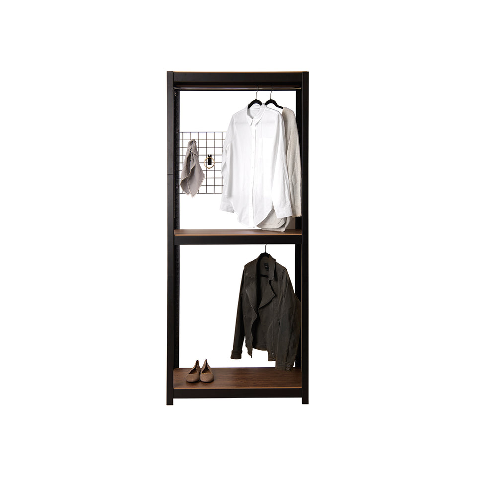 Kepsuul Two Tier Clothing Rack + Mesh Board Customizable Modular Shelving and Storage