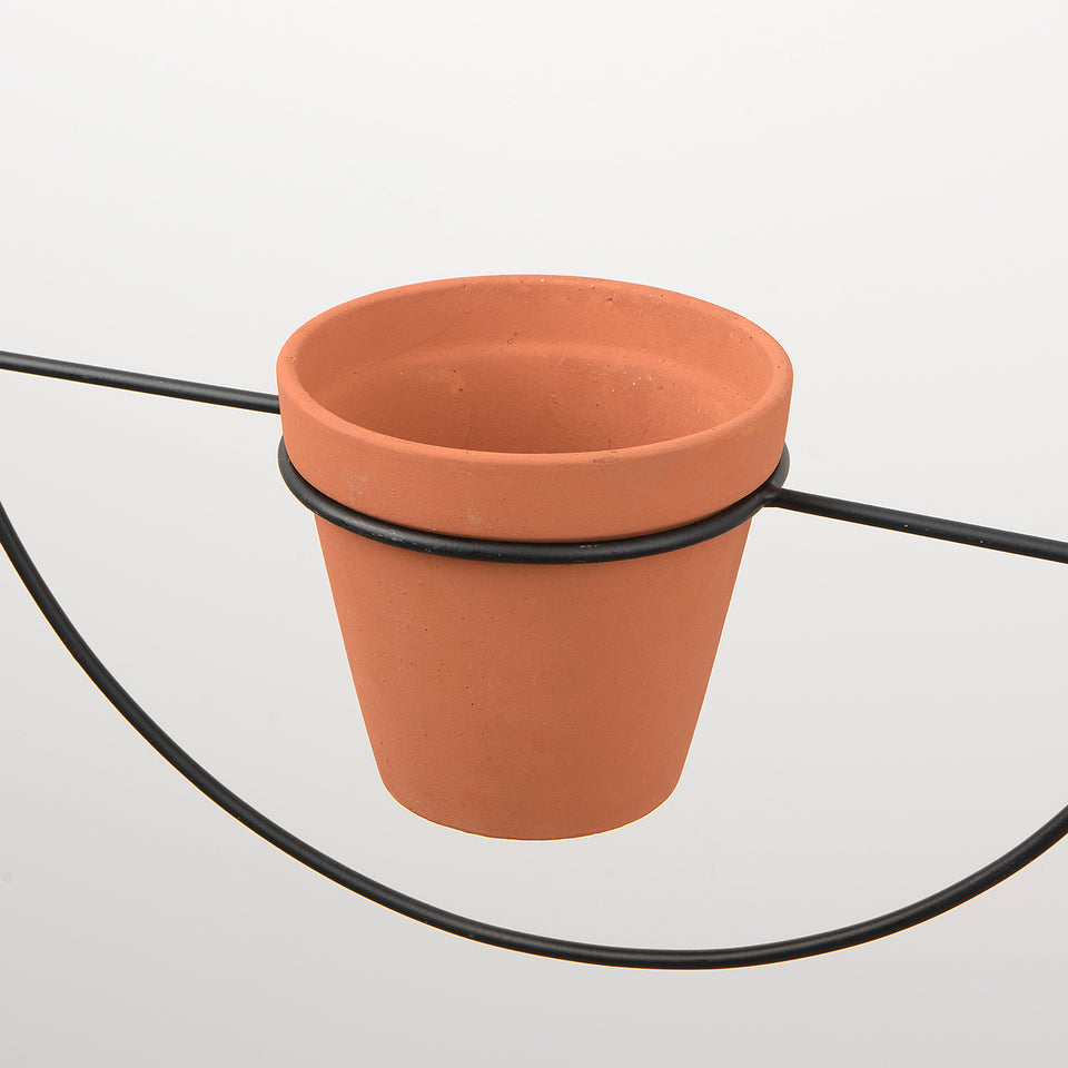 Terracotta and Iron Hoop Hanging Planter
