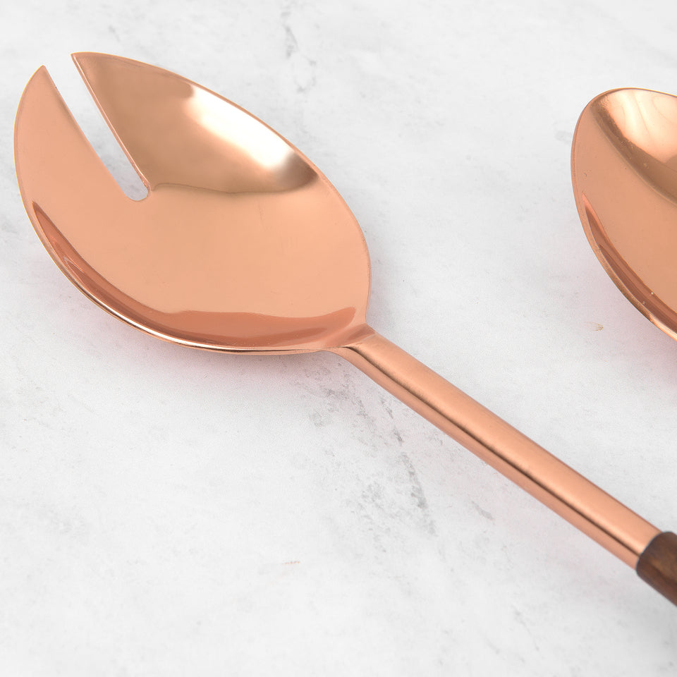 Copper and Wood Serving Set