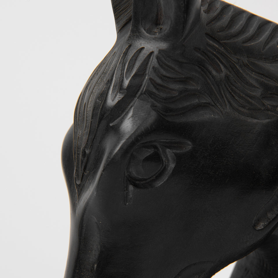 Soapstone-Carved Black Marble Horse