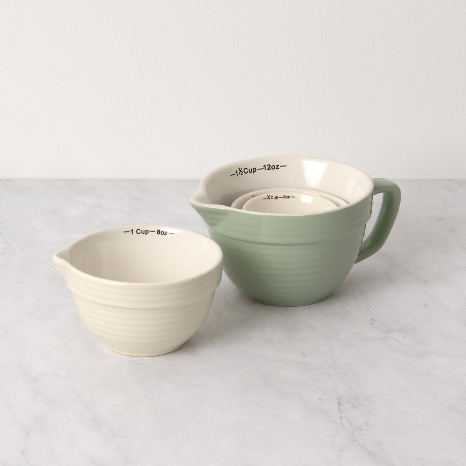 Batter Bowl-Shaped Stoneware Measuring Cups