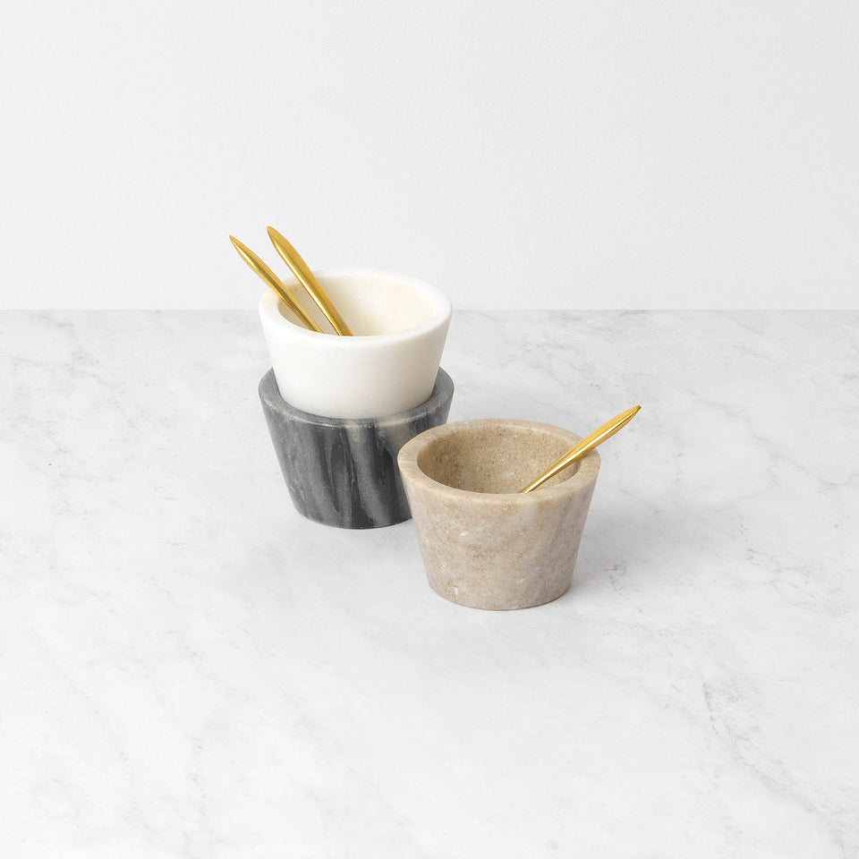 Small Marble Bowls with Brass Spoons