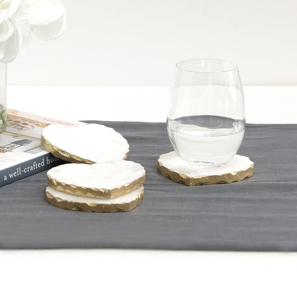 Heart-Shaped Marble Coasters with Gold or Silver-Finished Edge