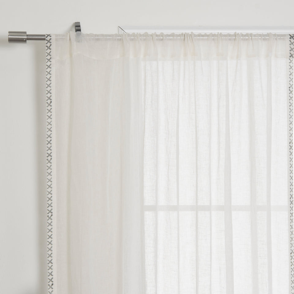 Brittany Criss Cross Linen Voile Curtain
