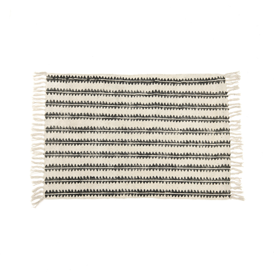 Sawtooth Stripe Block Print Cotton Rug