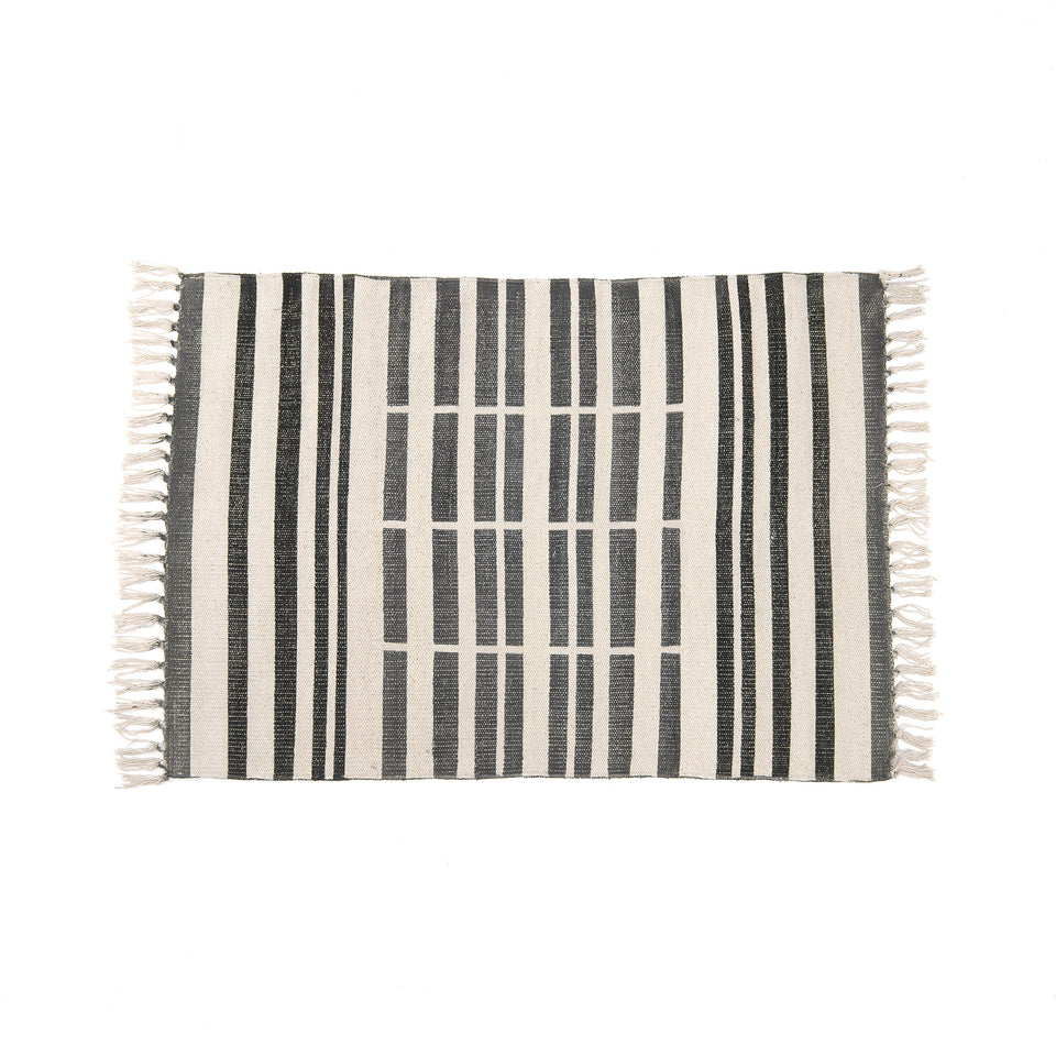 Broken Stripe Block Print Cotton Rug