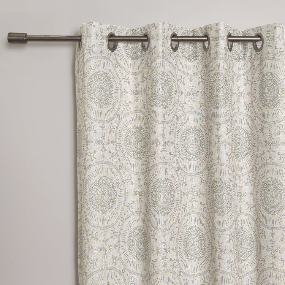Circular Medallion Linen Blend Blackout Curtain
