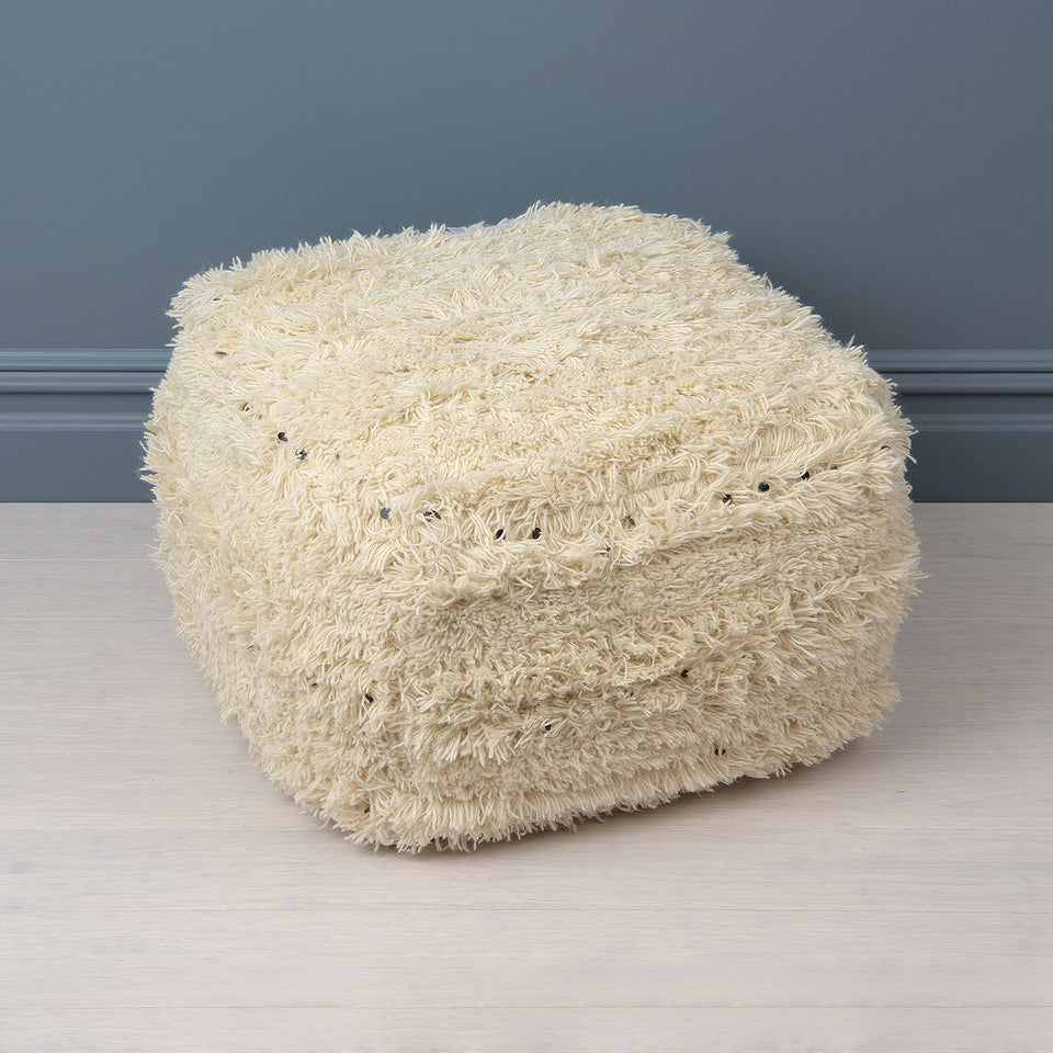 White Pouf with Black Sequins