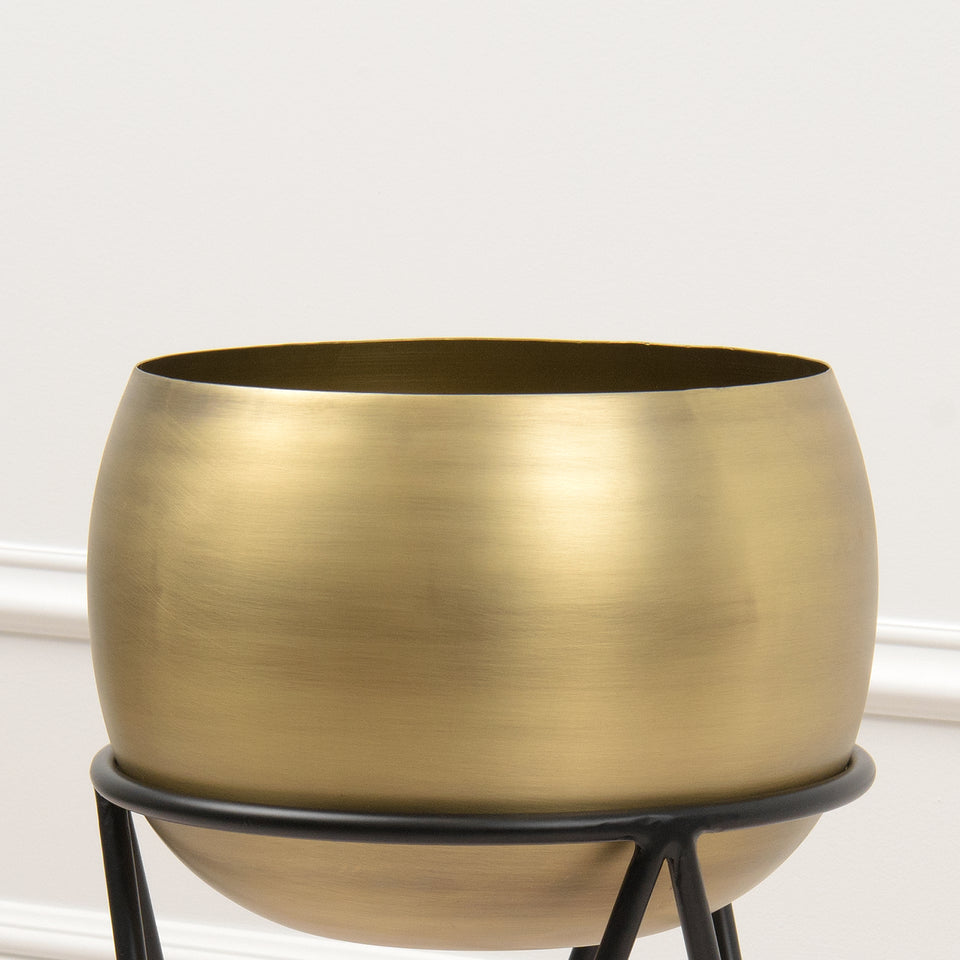 Round Brushed Metal Planter with Stand