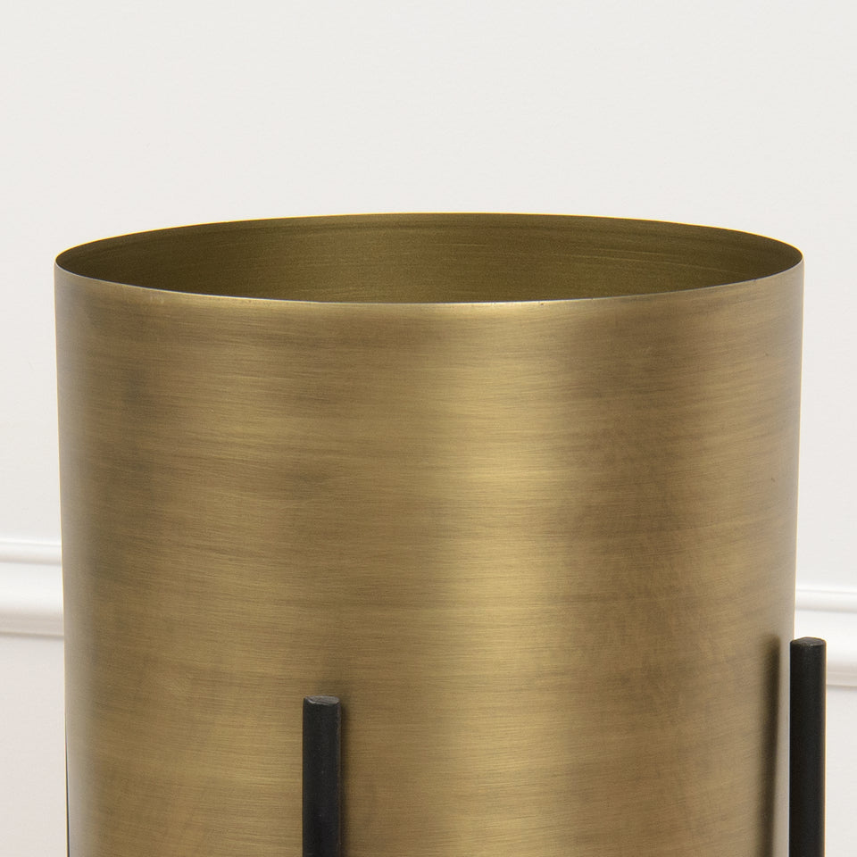 Cylindrical Brushed Metal Planter with Stand