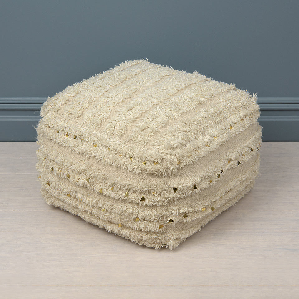 Shaggy Gold Sequin Pouf
