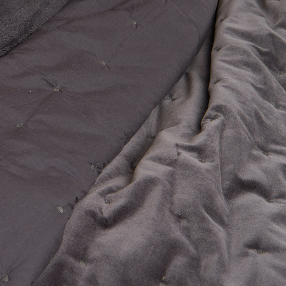 Velvet and Cotton Tufted Quilt