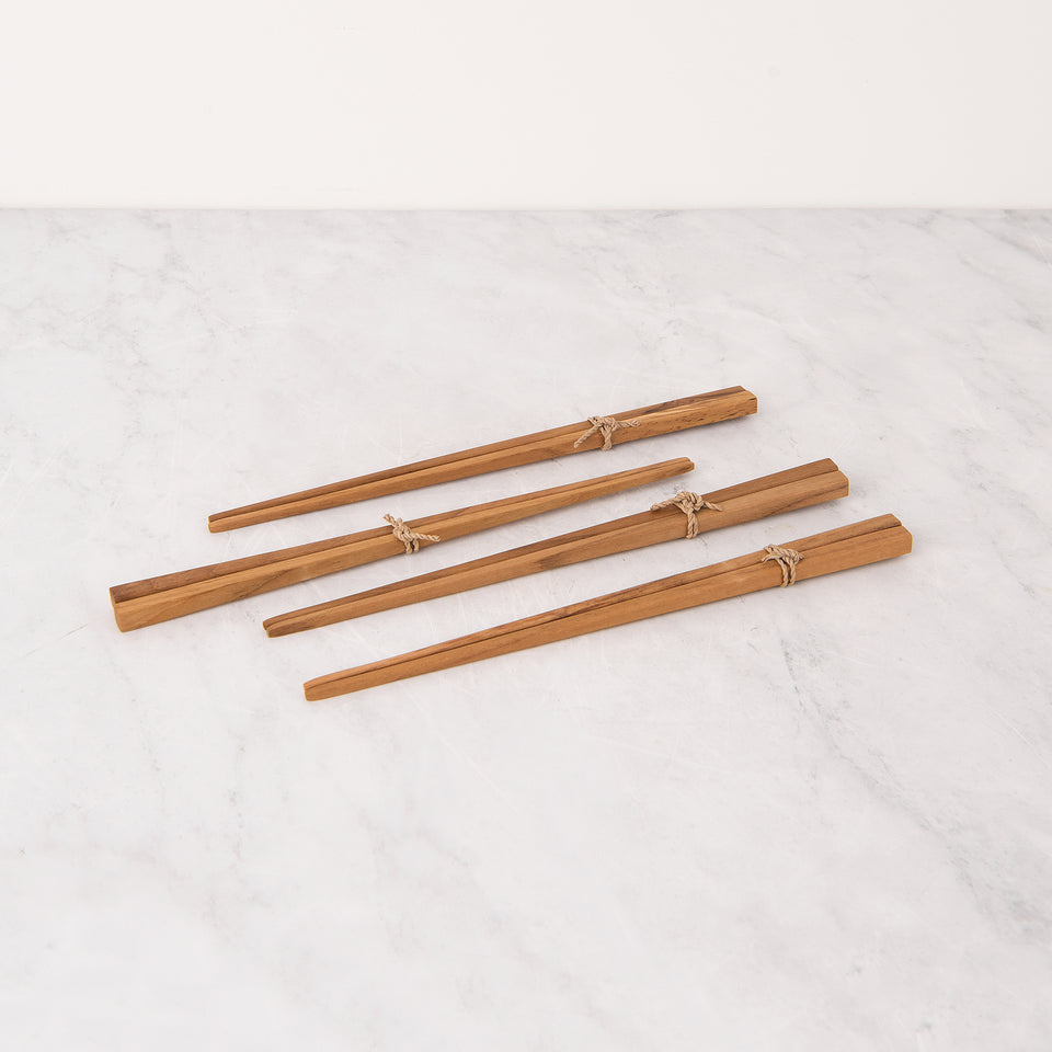 Teak Chopstick and Holder Set