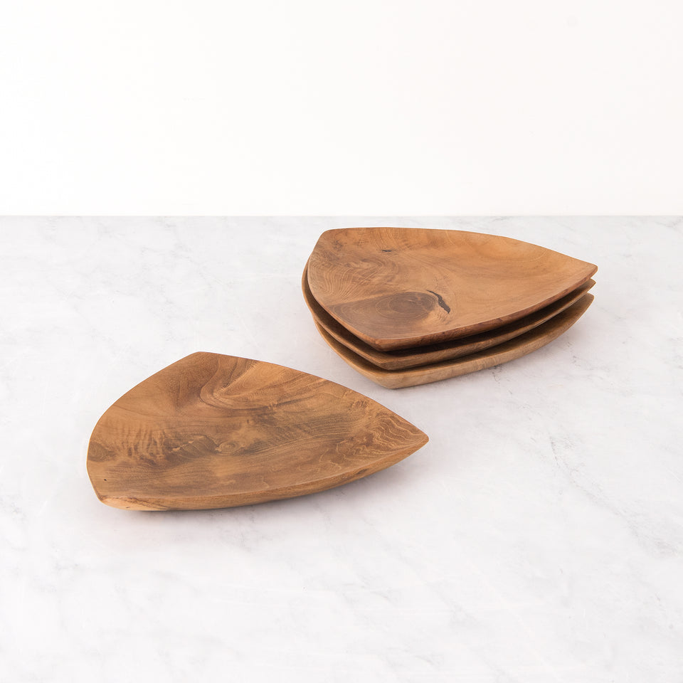 Rounded Triangle Teak Plate