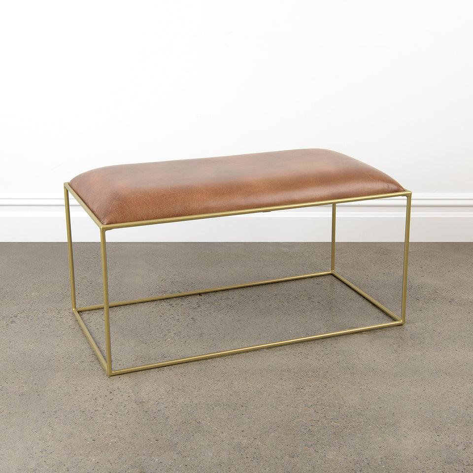 Mid-Century Genuine Leather Stool