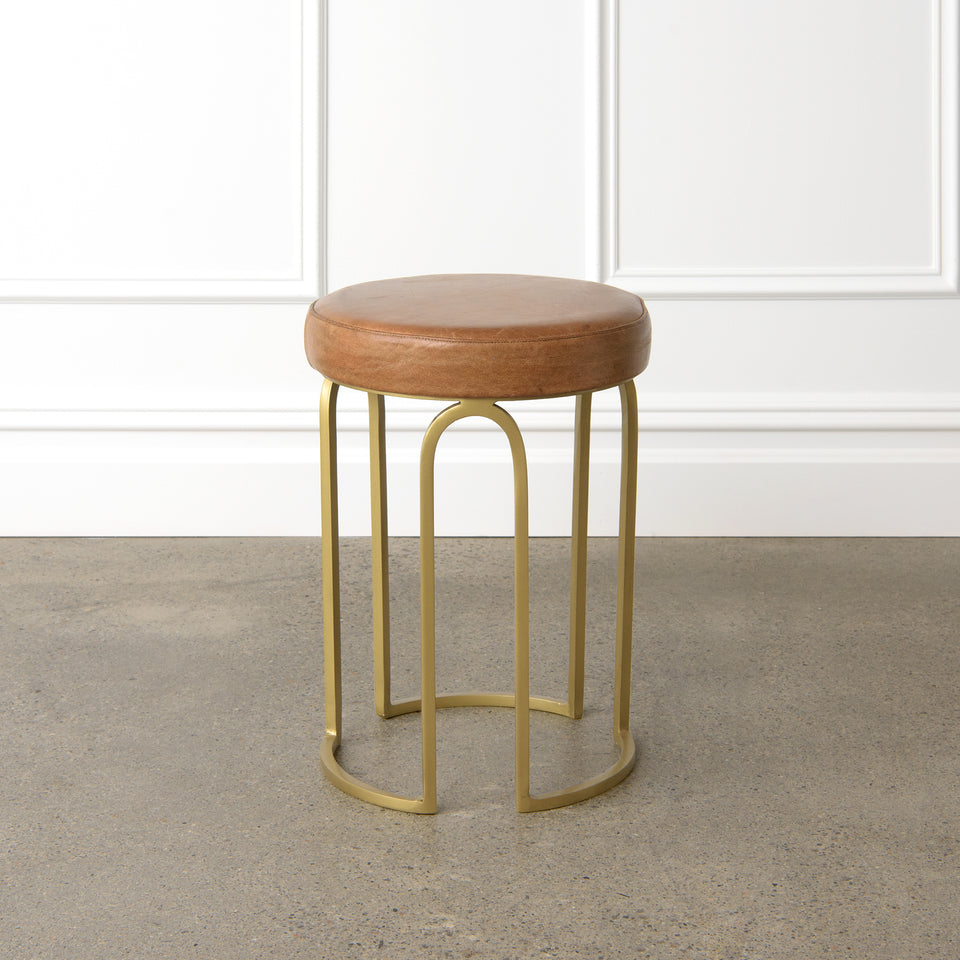 Genuine Leather Round Stool