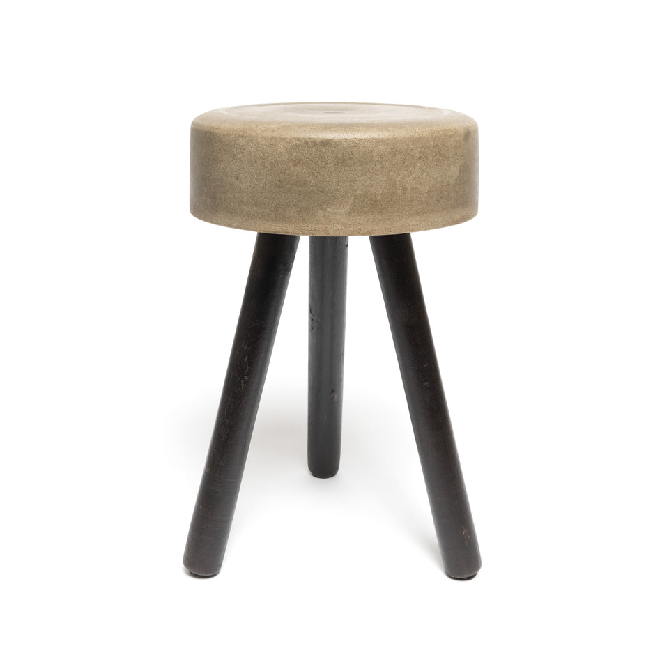 Mini Concrete Stool with Wooden Legs