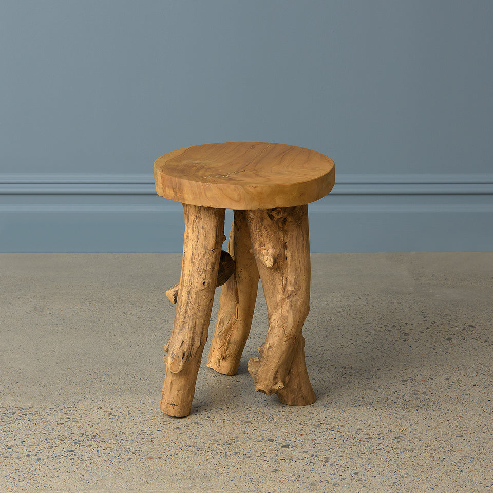 Abstract Teak Root Stool