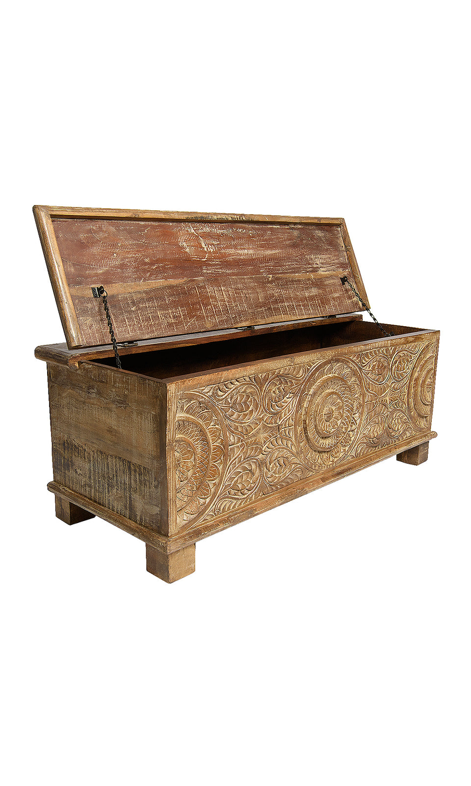 Amoli Hand Carved Wood Storage Chest