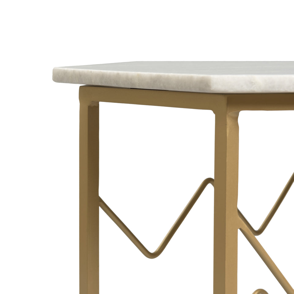 Piers Marble Table with Wine Storage