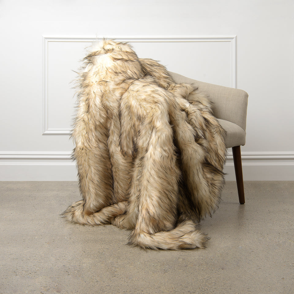 Faux Fur Throw - Bleached Finn Raccoon