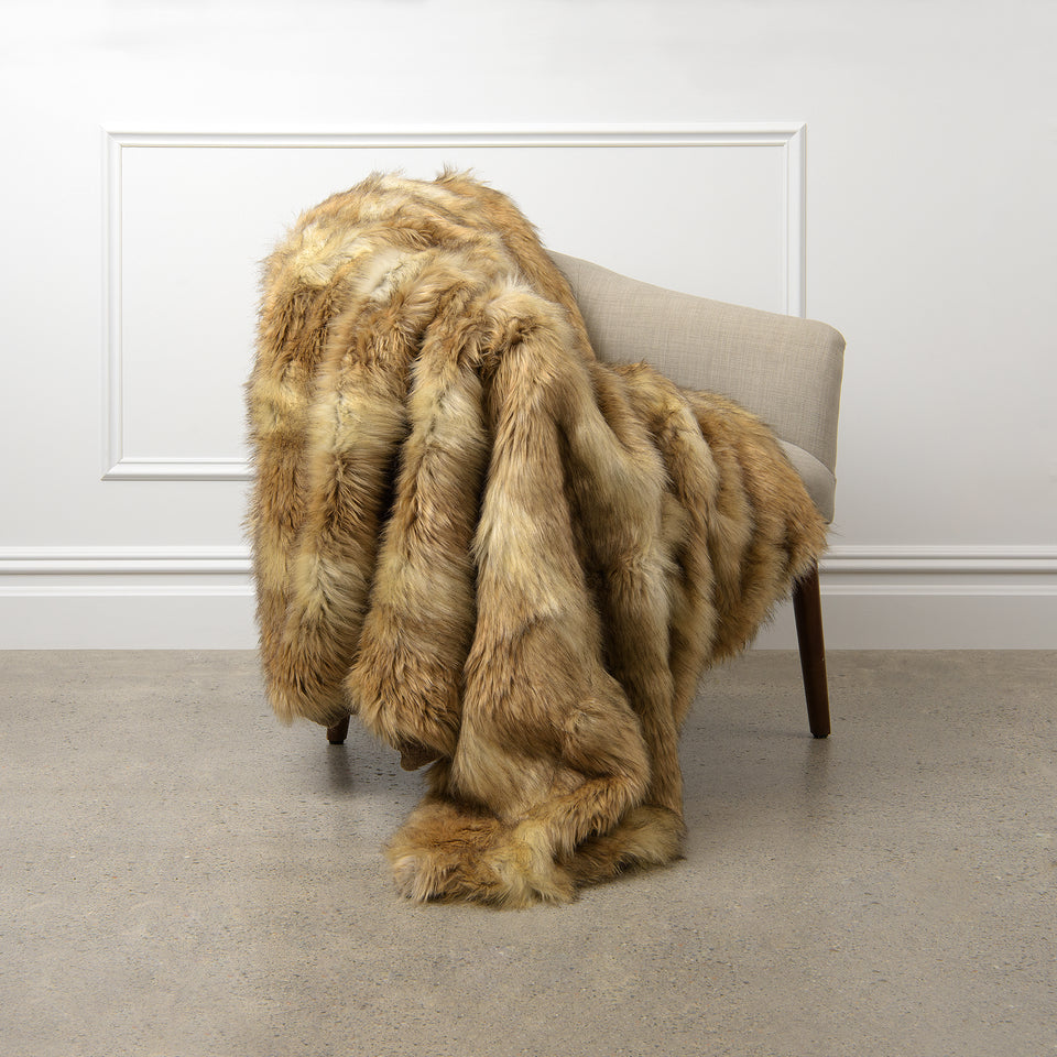 Faux Fur Throw - Platinum Frost Fox