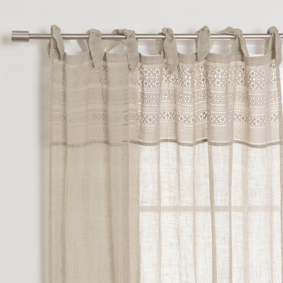 Brittany Decorative Top Border Linen Curtain