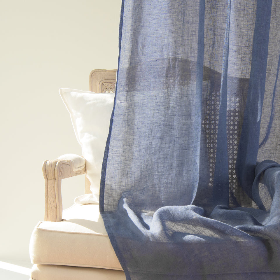 Brittany Semi Sheer Linen Back Tab Curtain