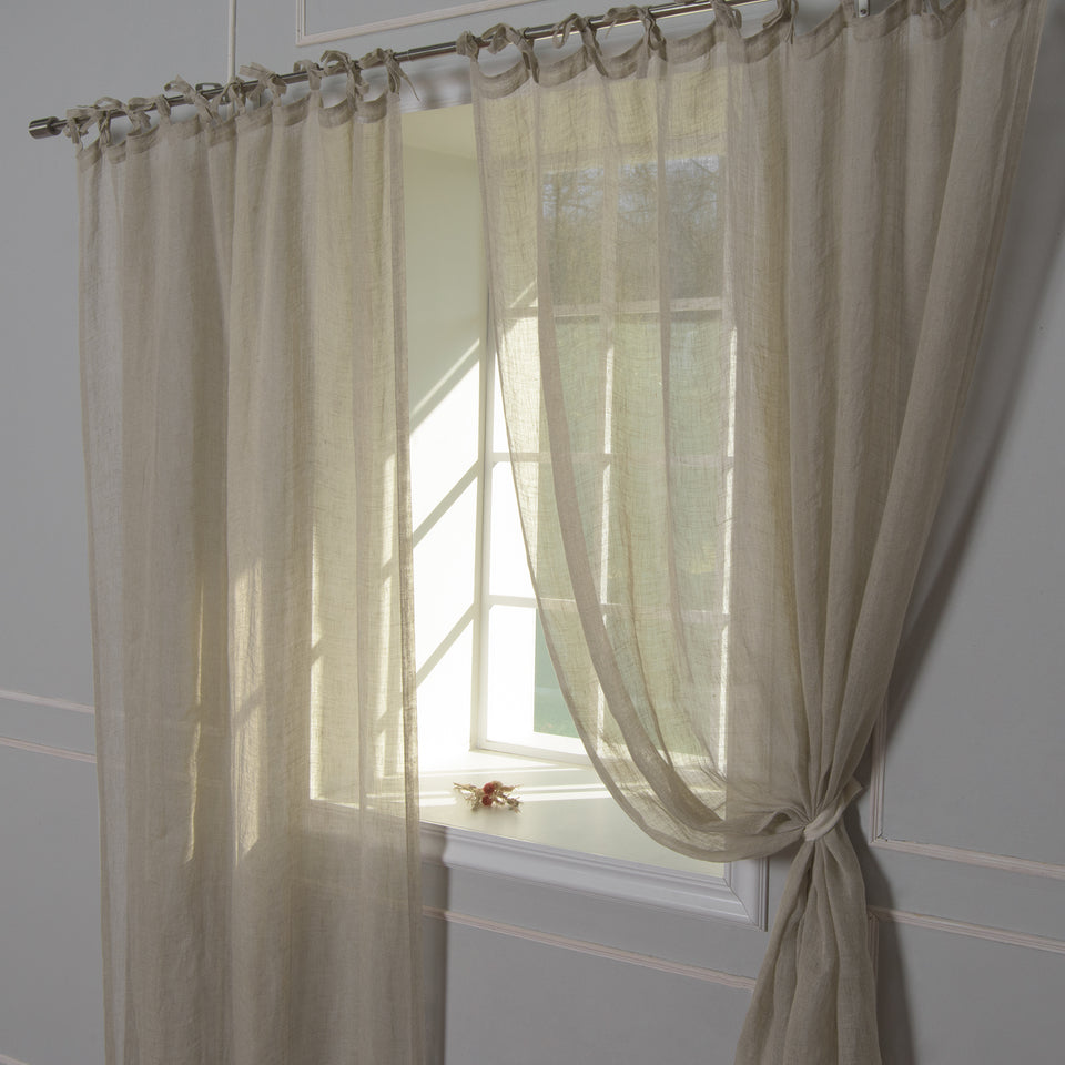 Brittany Semi Sheer Linen Tie Top Curtain