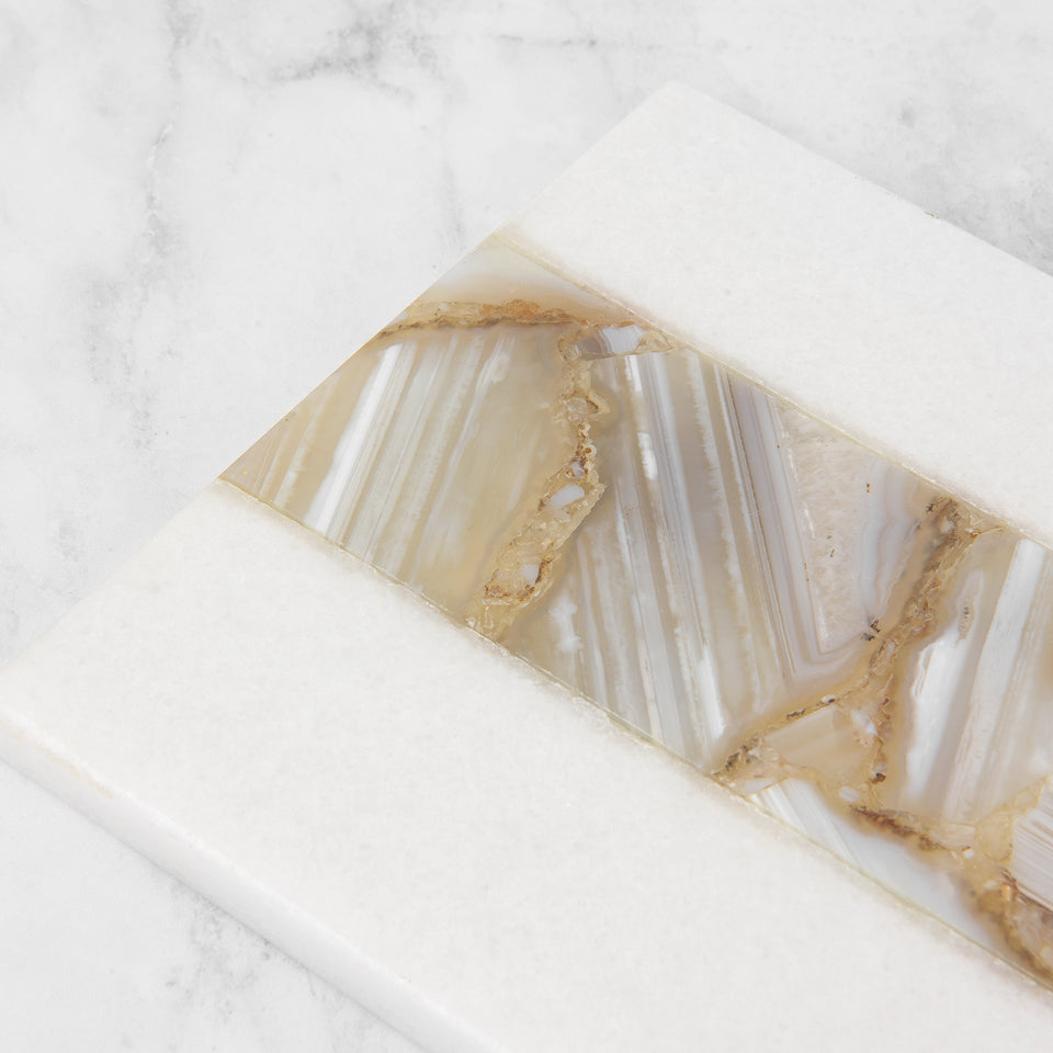 Long Marble and Agate Stripe Serving Board
